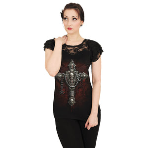 DEATH BONES - Lace Layered Cap Sleeve Top Black