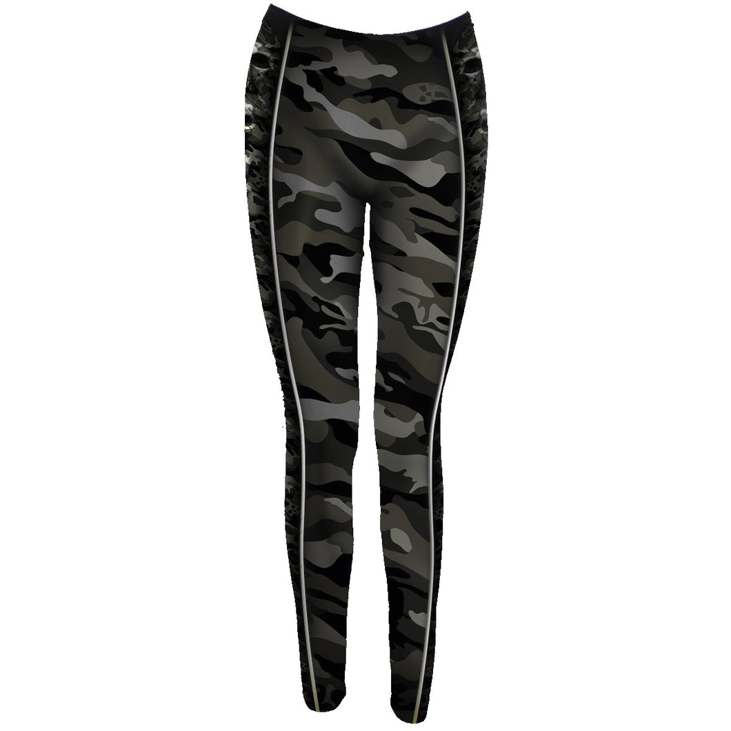 CAMO-SKULL - Allover Comfy Fit Leggings Black