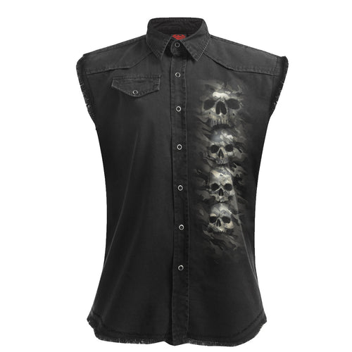 CAMO-SKULL - Sleeveless Stone Washed Worker Black