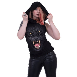 TRIBAL PANTHER - Sleeveless Gothic Hood Black