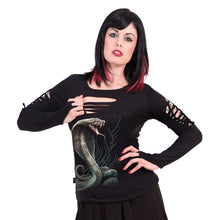 Load image into Gallery viewer, SERPENT TATTOO - Slashed Goth Glove Top Black