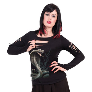 SERPENT TATTOO - Slashed Goth Glove Top Black