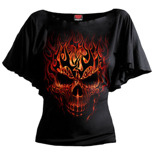 SKULL BLAST - Boat Neck Bat Sleeve Top Black