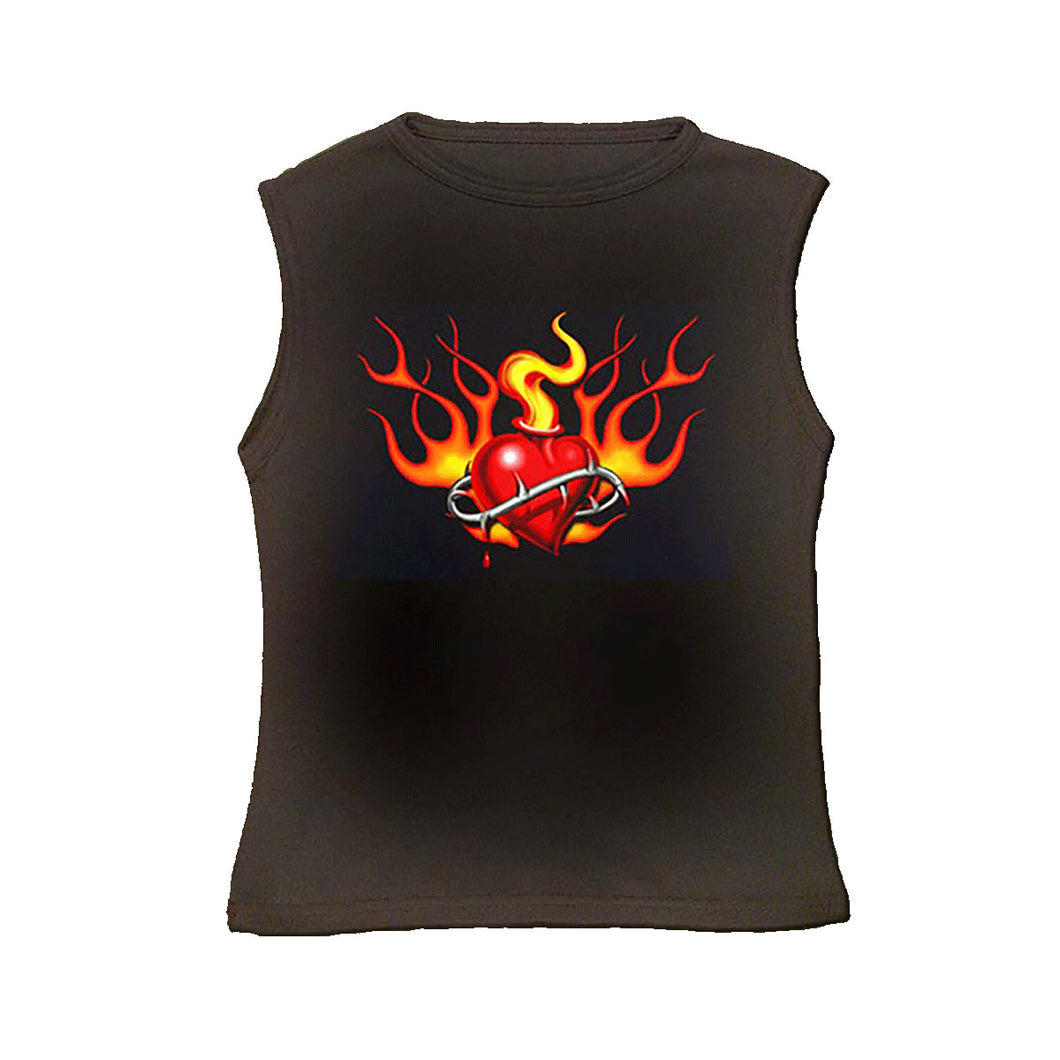 FLAMIN HEART  - Top Black