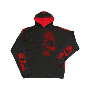 SHADOW SKULL  - Red Ripped Hoody Black