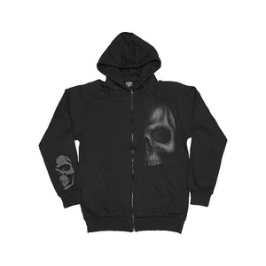 SHADOW SKULL  - Full Zip Hoody Black