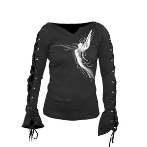 ANGEL SLANT  - Laceup Sleeve Top Black