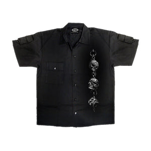 SKELETAL WORSHIP  - Shortsleeve WorkShirt Black