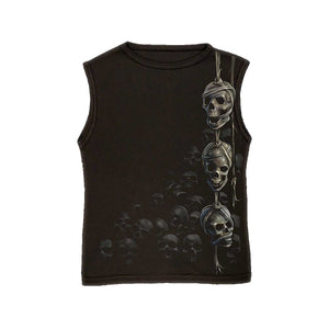 WREATH OF SKULLS  - Allover Sleeveless T-Shirt Black