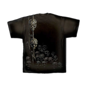 WREATH OF SKULLS  - Allover T-Shirt Black