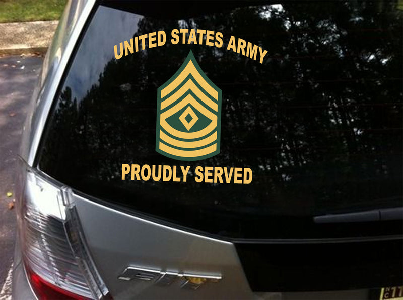 2PCS/LOT Army Proudly Served Rank Decal