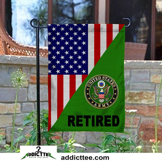 US Army Retired Veteran Garden Flag Double-Sided Print