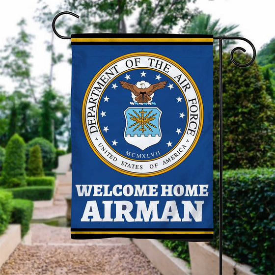 Welcome Home Airman garden flag Double-Sided Print