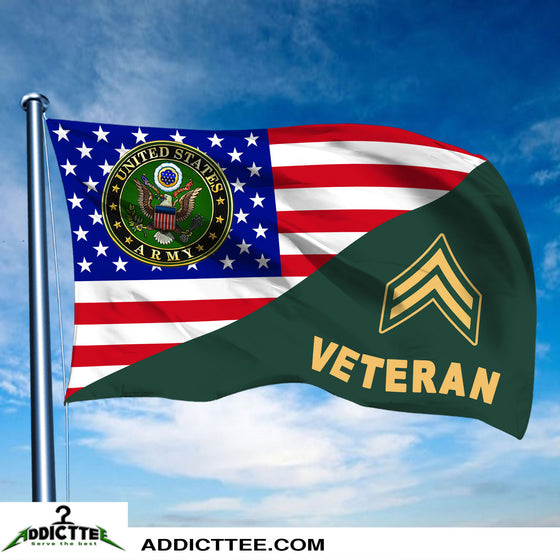 3x5 US Army Rank Army Veteran Flag