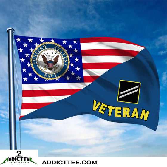 3x5 US Navy Rank Veteran Flag