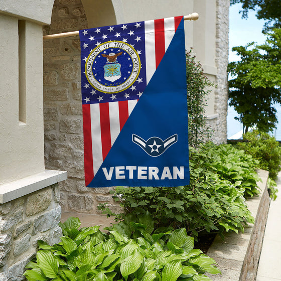US Air Force rank Veteran House Flag Double-sided Print
