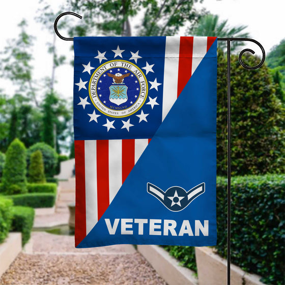 US Air force Rank Veteran With Betsy Ross Version Garden Flag Double-sided Print