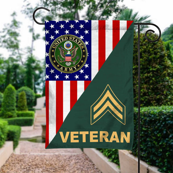 US Army Rank Army Veteran Garden Flag Double-sided Print