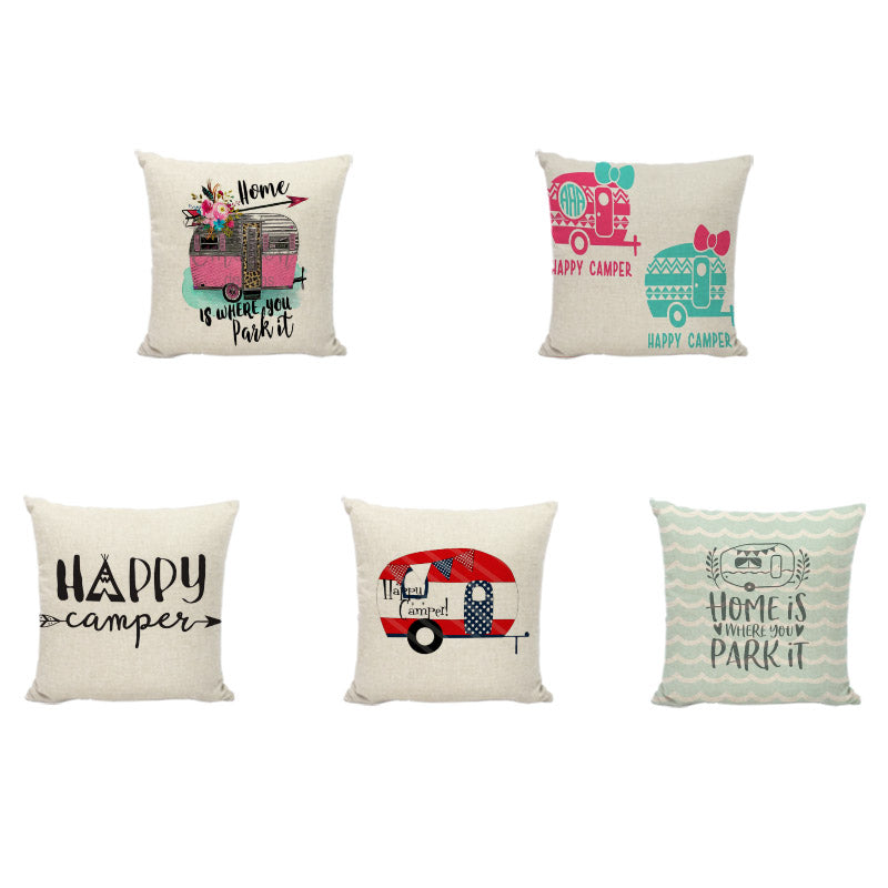 Happy Camping Happy Camper Cushion Cover Linen Throw Pillowcase