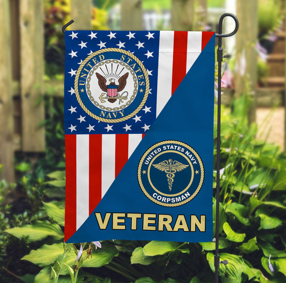 U.S. Navy Hospital Corpsman Veteran Garden Flag Double-sided Print