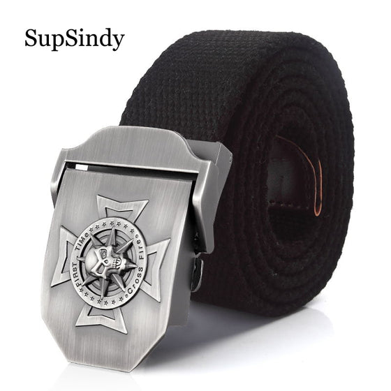First Time Cross Fire Fireman Firefighters Skull Cross Metal Buckle Belt