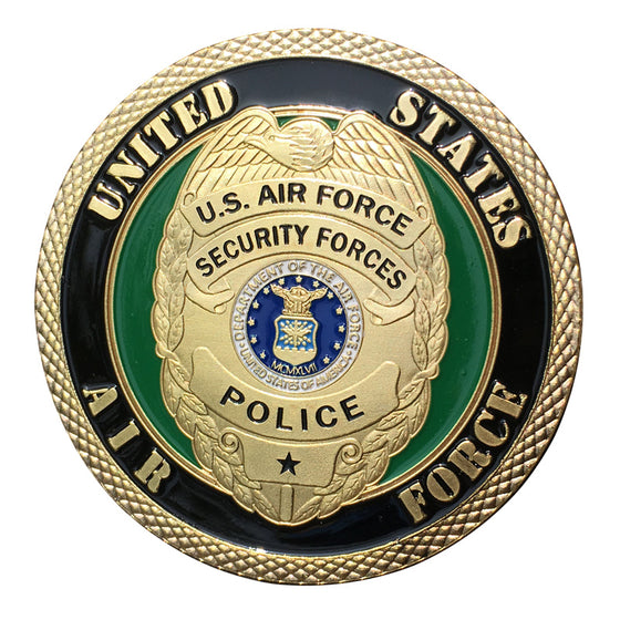 U.S. Air Force/USAF Security Forces Police Gold Plated With Plastic Case For Collection Challenge Coin/Medal