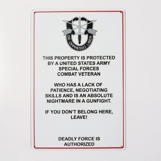 Us Army Special Forces Metal Sign