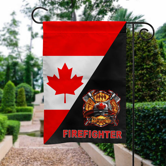 Canadian Fire Dept Logo Garden Flag Double-sided Print