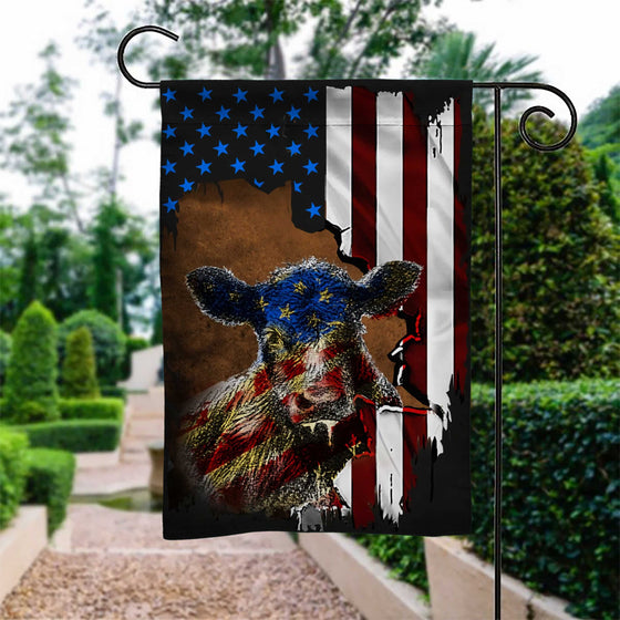US Cow Garden Flag Double-sided Print