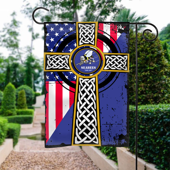SEABEES CROSS GARDEN FLAG Double-sided Print