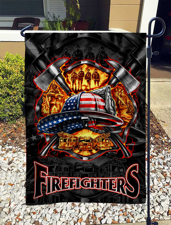 We Love Firefighters Garden Flag Double-sided Print