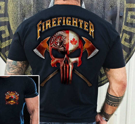 Canadian Fire Dept Logo With Skull Front And Back Shirt