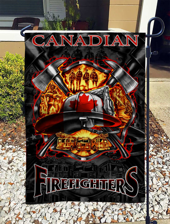 We Love Canadian Firefighters Garden Flag Double-sided Print