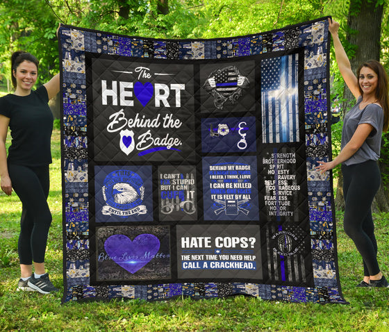 Police thin blue line Quilt blanket