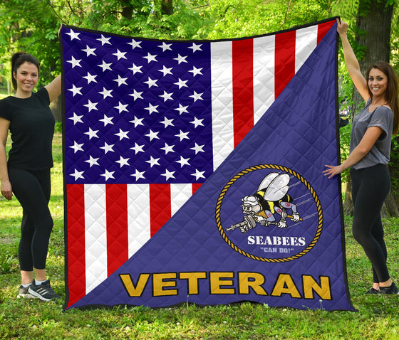 US. Seabee Quilt Blanket