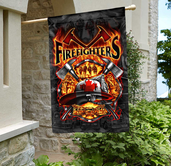 We Love Canadian Firefighters House Flag Double-sided Print