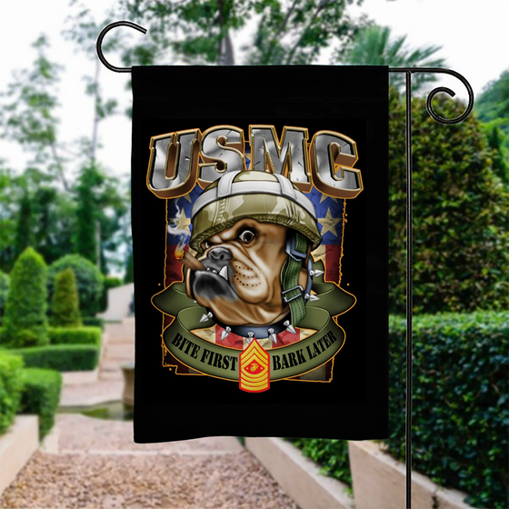 U.S Marine Corps Bite First Bark Later Garden Flag Double-sided Print