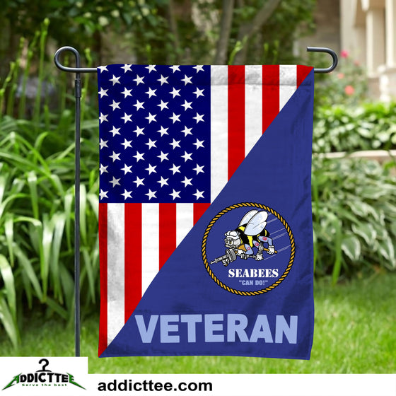 USN NAVY SEABEES VETERAN GARDEN FLAG Double-sided Print
