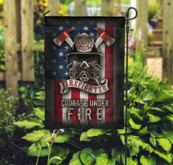 Firefighter - Courage Under Fire Garden Flag Double-sided Print