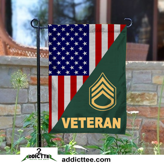Rank Army Veteran Garden Flag Double-Sided Print