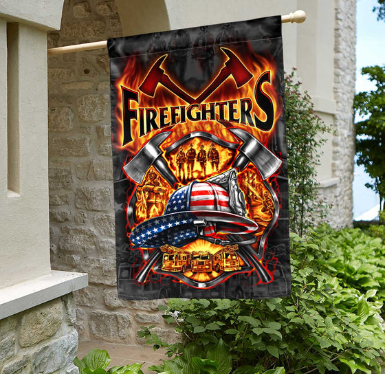 We Love Firefighters House Flag Double-sided Print