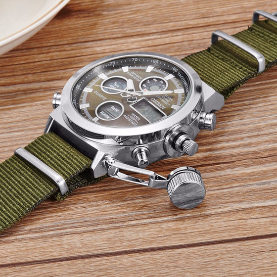 Military Army Green Analog Digital Quartz Nylon Canvas Wrist Watch Sport US