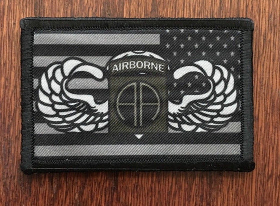 Jump Wings 82nd Airborne USA FLAG Morale Patch Tactical Military Hook Badge