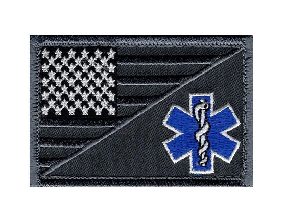 EMT USA Flag Medic Ems Tactical Hook Patch (Subdued Silver-MFY15) BY MILTACUSA