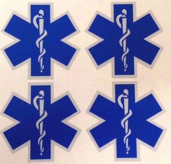 FOUR Blue Reflective Vinyl Star Of Life Car or Fire Helmet Decal EMS EMT 2 inch