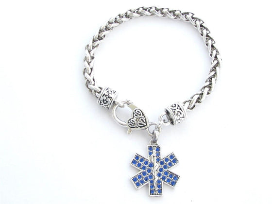 Paramedic Star of Life EMS EMT Blue Crystal Charm Lobster Claw Bracelet Jewelry