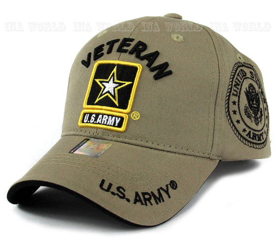 US ARMY hat cap Military VETERAN ARMY STRONG Licensed Baseball cap-Khaki Beige
