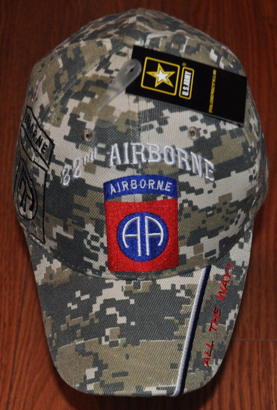 New Camo 82nd Airborne Division US Army Adjustable Hat All The Way Camouflage