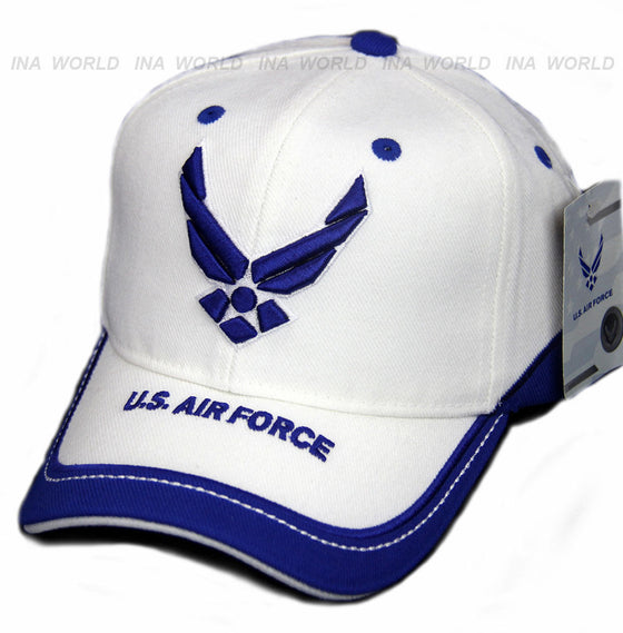 US AIR FORCE hat USAF Logo Military Official Licensed Baseball cap- White/Blue