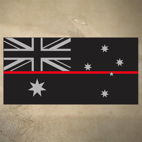 AUSTRALIAN THIN RED LINE FLAG DECAL | STICKER | 100mm x 50mm | FIREFIGHTER | EMS